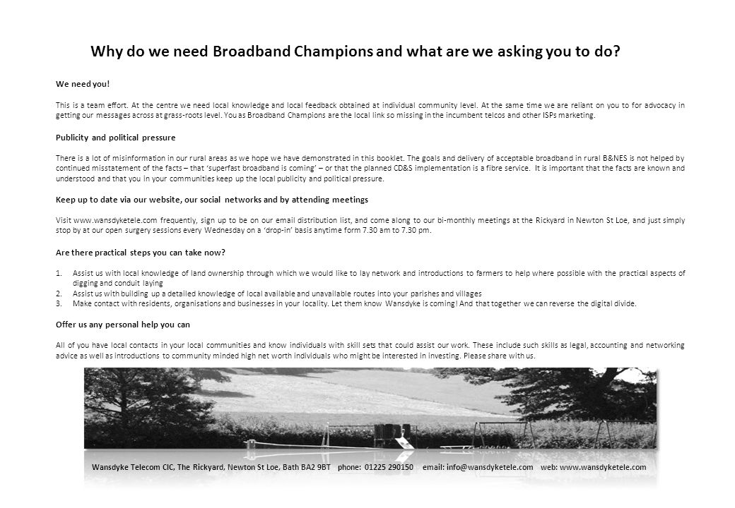 Why do we need Broadband Champions and what are we asking you to do