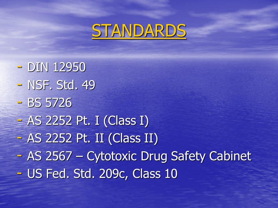STANDARDS DIN 12950 NSF. Std. 49 BS 5726 AS 2252 Pt. I (Class I)