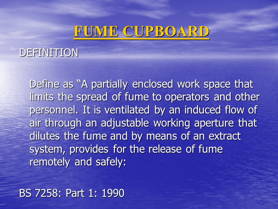 FUME CUPBOARD DEFINITION