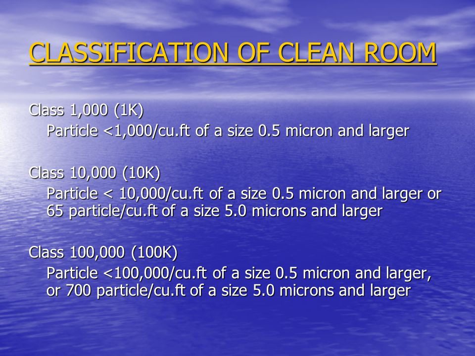CLASSIFICATION OF CLEAN ROOM
