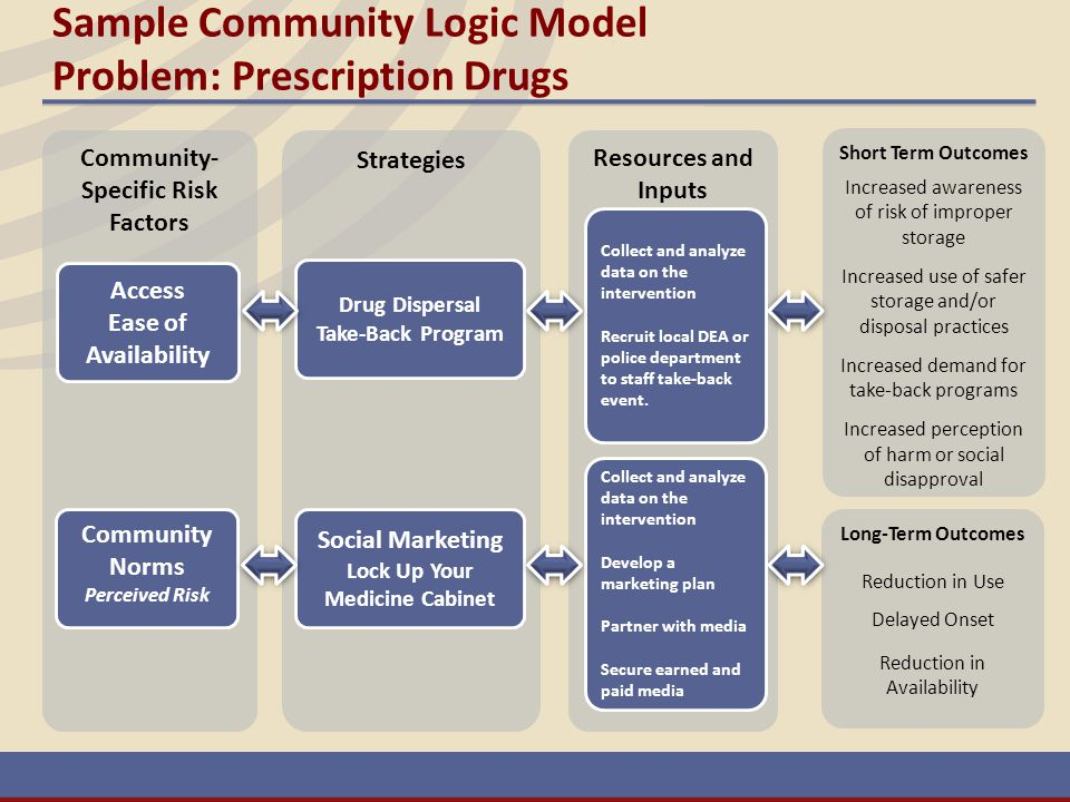 Sample Community Logic Model Problem: Prescription Drugs