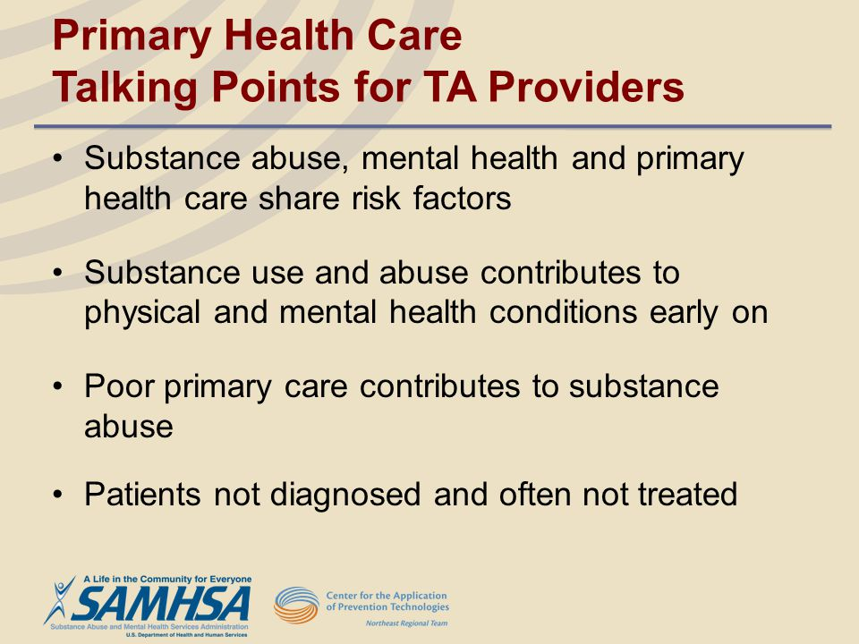Primary Health Care Talking Points for TA Providers