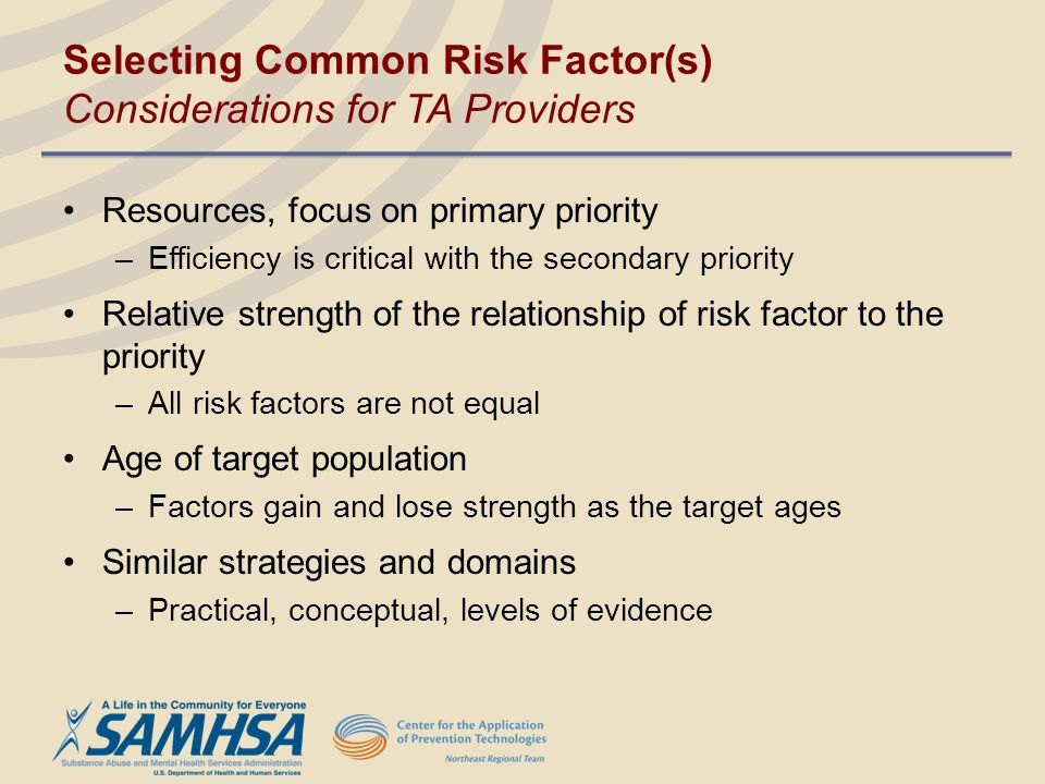 Selecting Common Risk Factor(s) Considerations for TA Providers