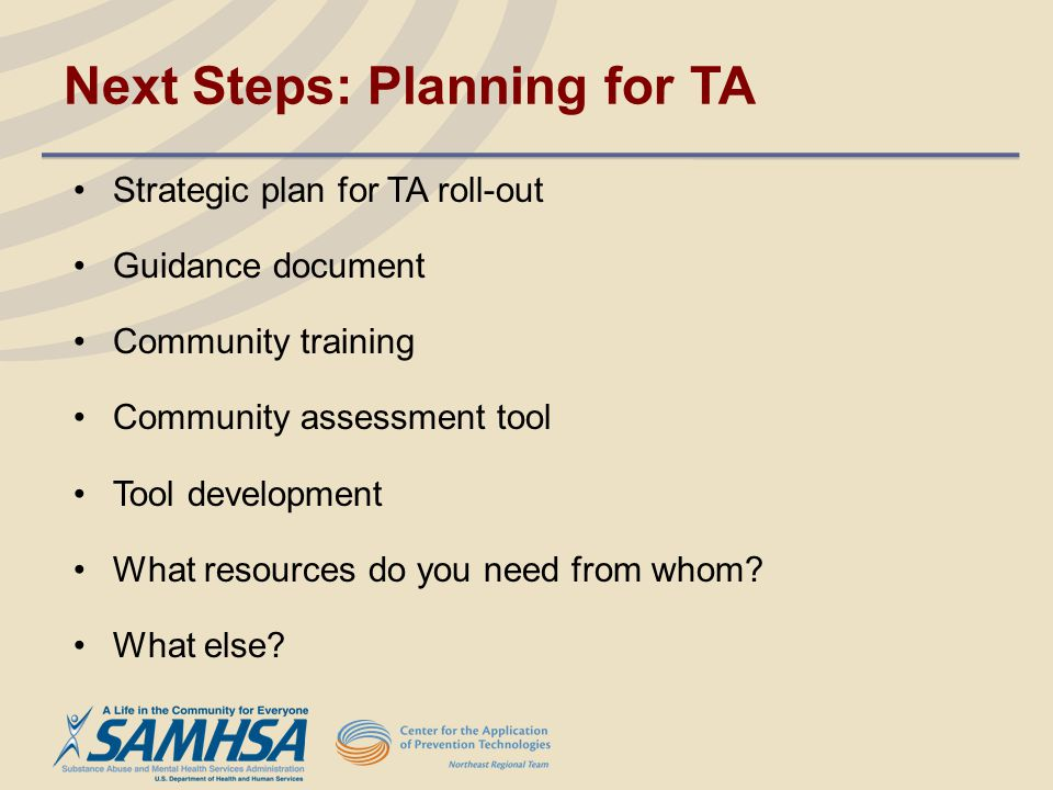 Next Steps: Planning for TA