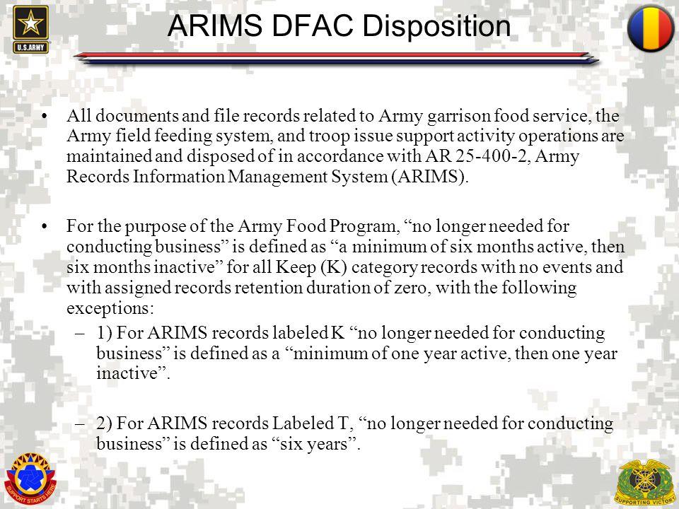 ARIMS DFAC Disposition