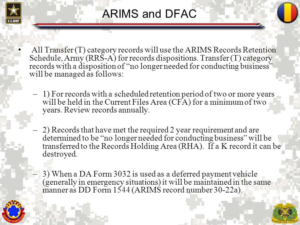 ARIMS and DFAC