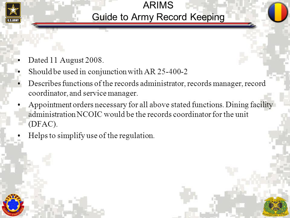 ARIMS Guide to Army Record Keeping