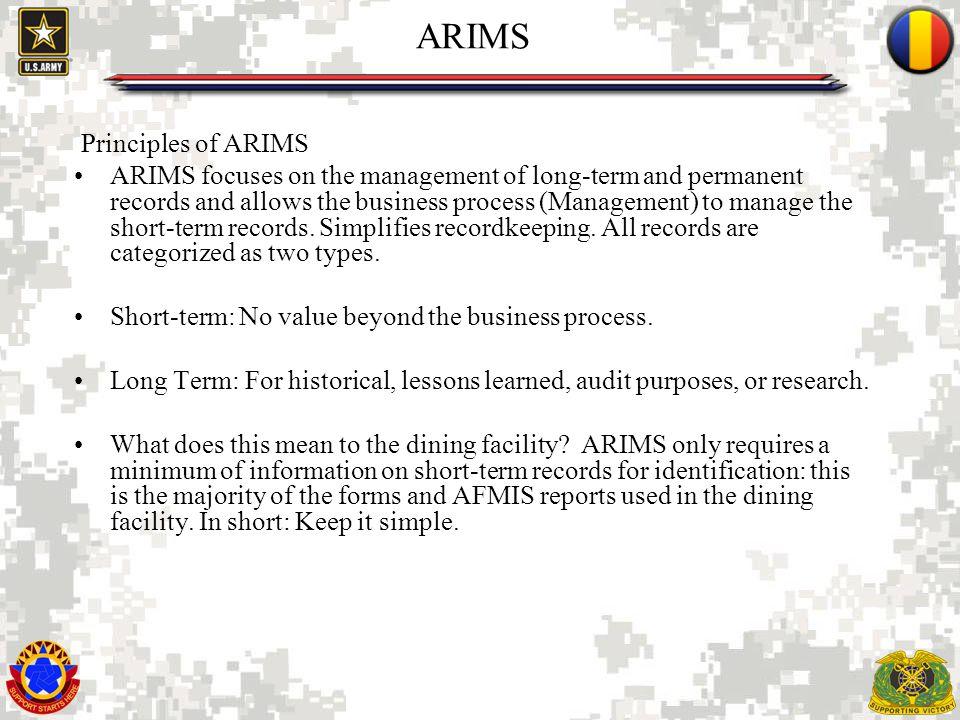ARIMS Principles of ARIMS