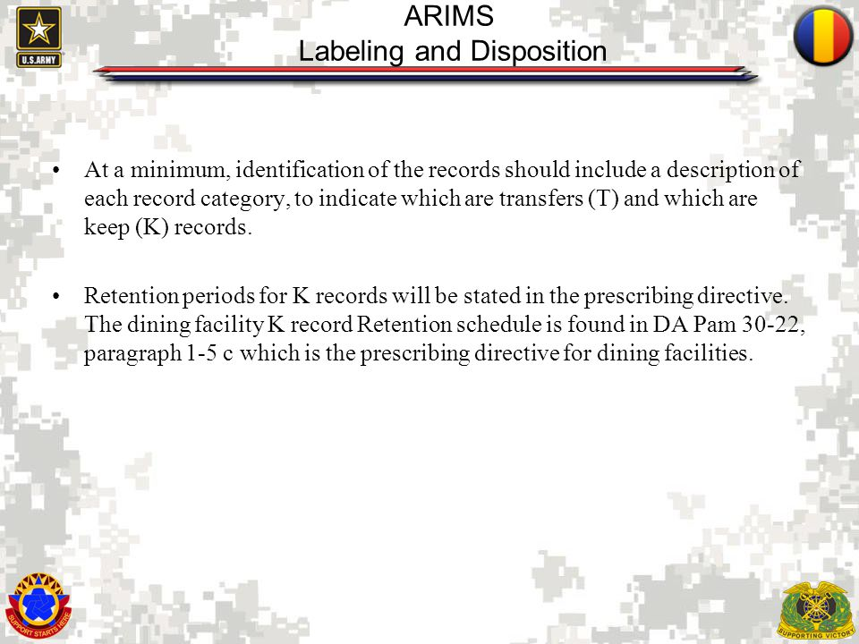 ARIMS Labeling and Disposition