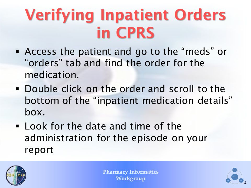 Verifying Inpatient Orders in CPRS