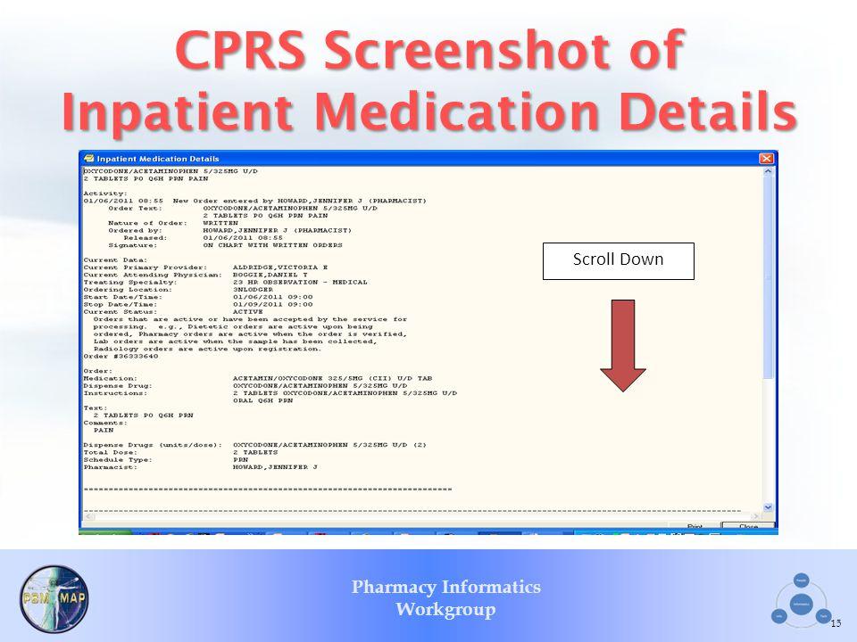 CPRS Screenshot of Inpatient Medication Details