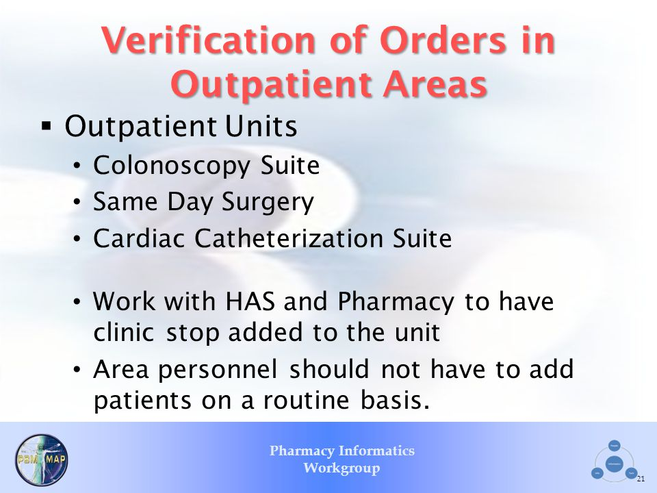Verification of Orders in Outpatient Areas