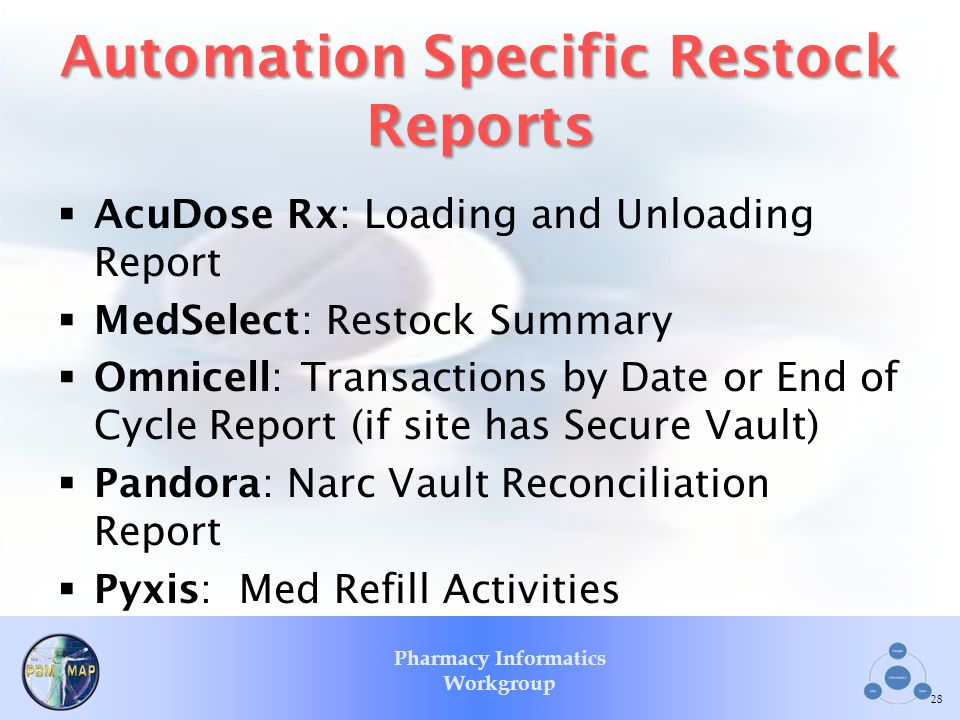 Automation Specific Restock Reports