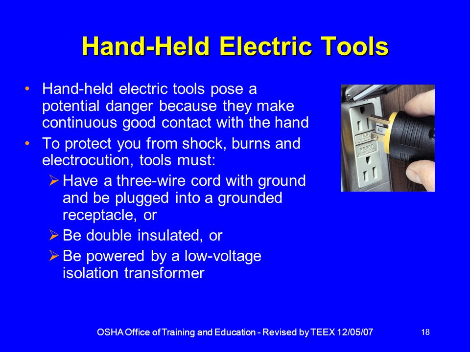 Hand-Held Electric Tools