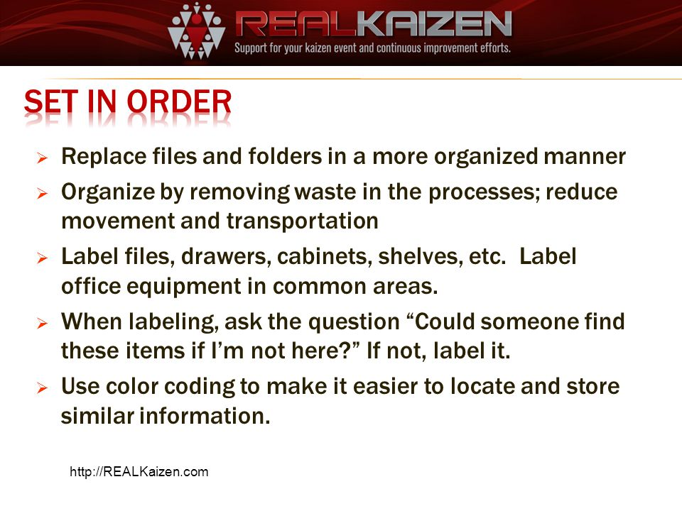 Set in Order Replace files and folders in a more organized manner