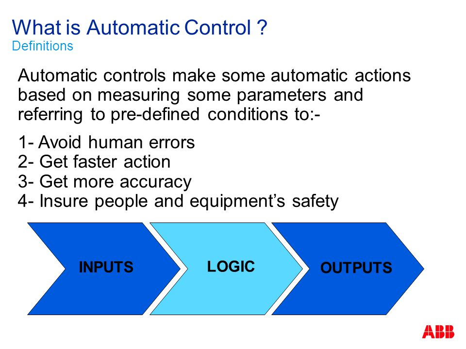 What is Automatic Control Definitions
