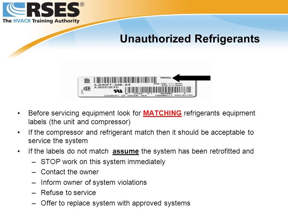 Unauthorized Refrigerants