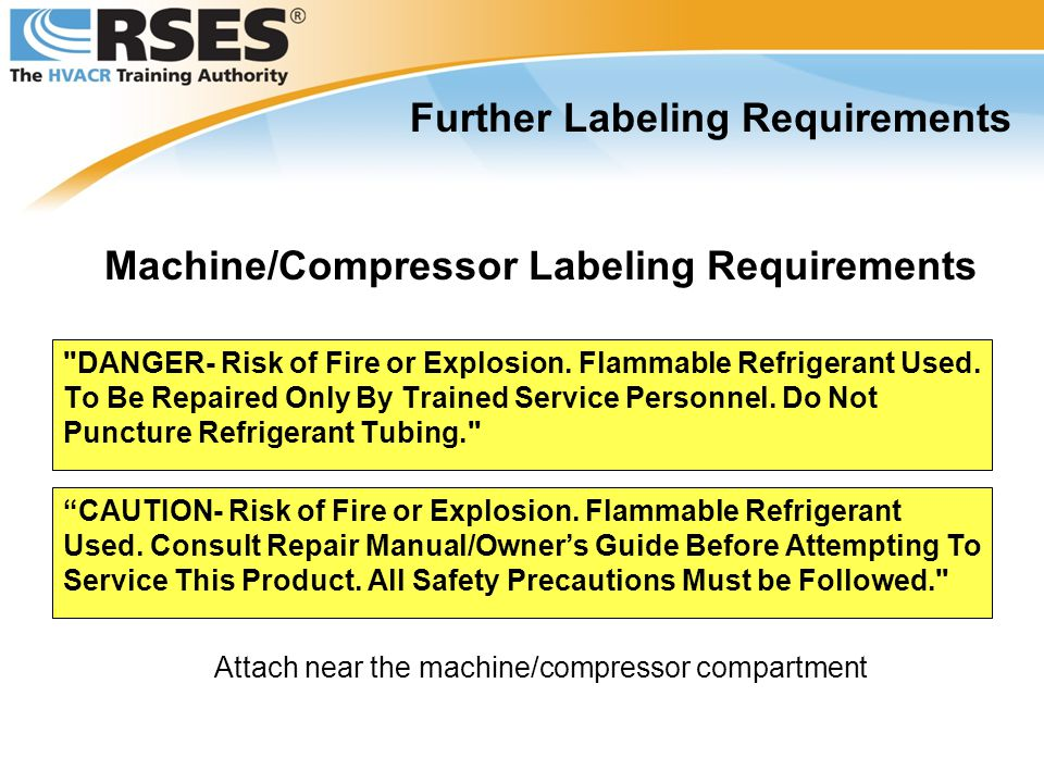 Further Labeling Requirements Machine/Compressor Labeling Requirements