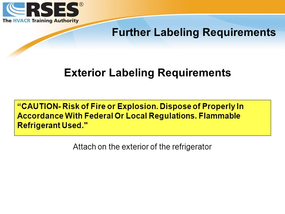 Further Labeling Requirements Exterior Labeling Requirements