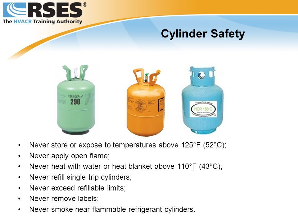 Cylinder Safety Never store or expose to temperatures above 125°F (52°C); Never apply open flame;