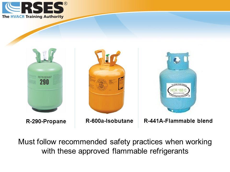 R-290-Propane R-600a-Isobutane. R-441A-Flammable blend.