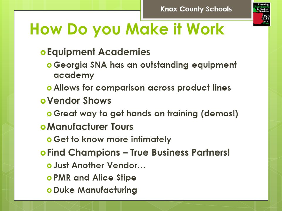 How Do you Make it Work Equipment Academies Vendor Shows