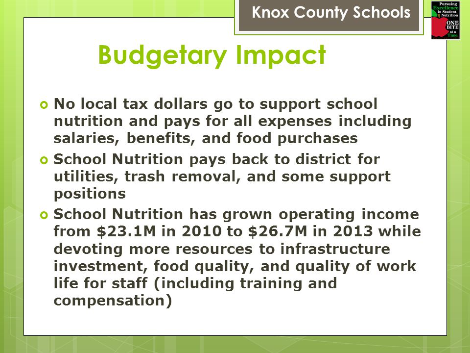 Budgetary Impact Knox County Schools