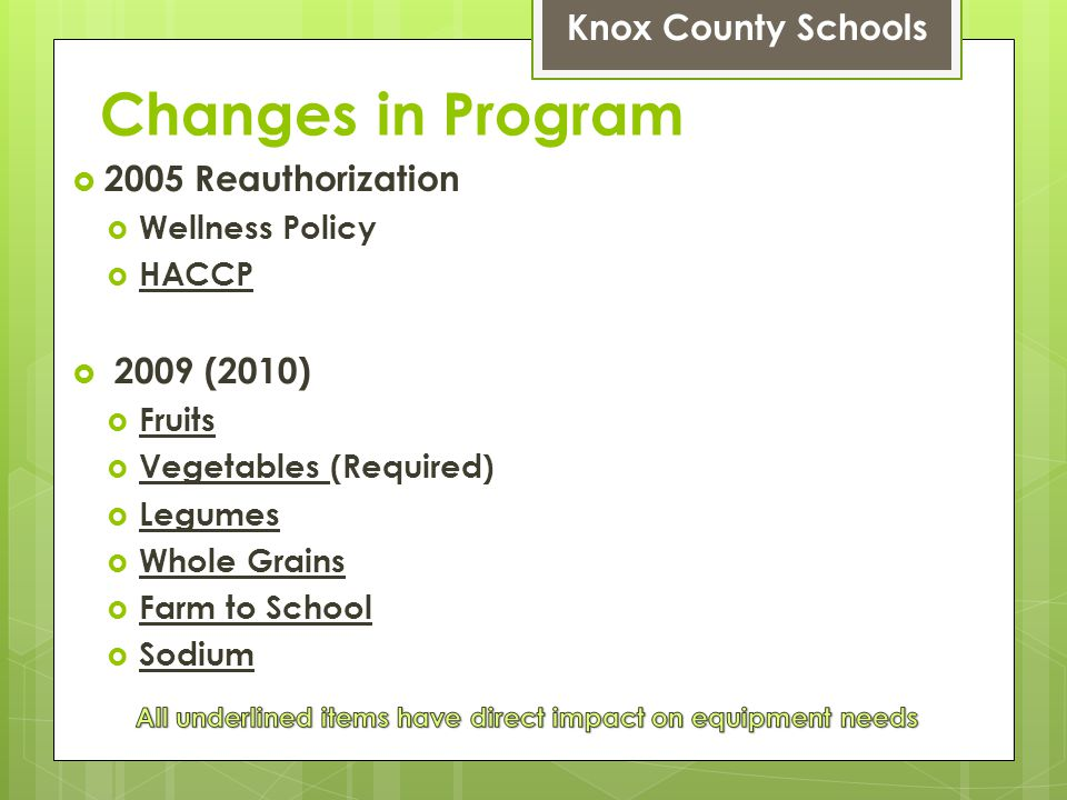 Changes in Program Knox County Schools 2005 Reauthorization