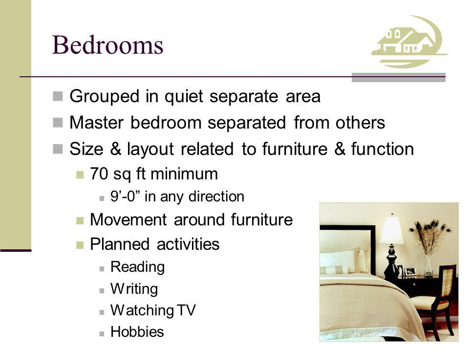 Bedrooms Grouped in quiet separate area