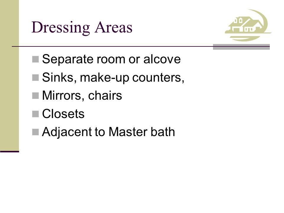 Dressing Areas Separate room or alcove Sinks, make-up counters,