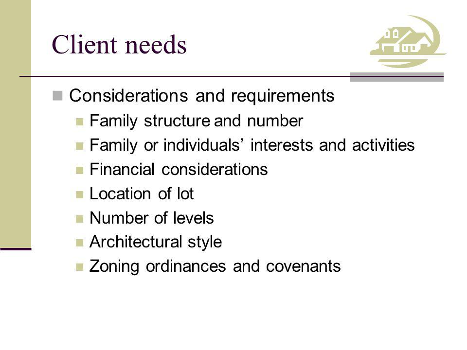 Client needs Considerations and requirements