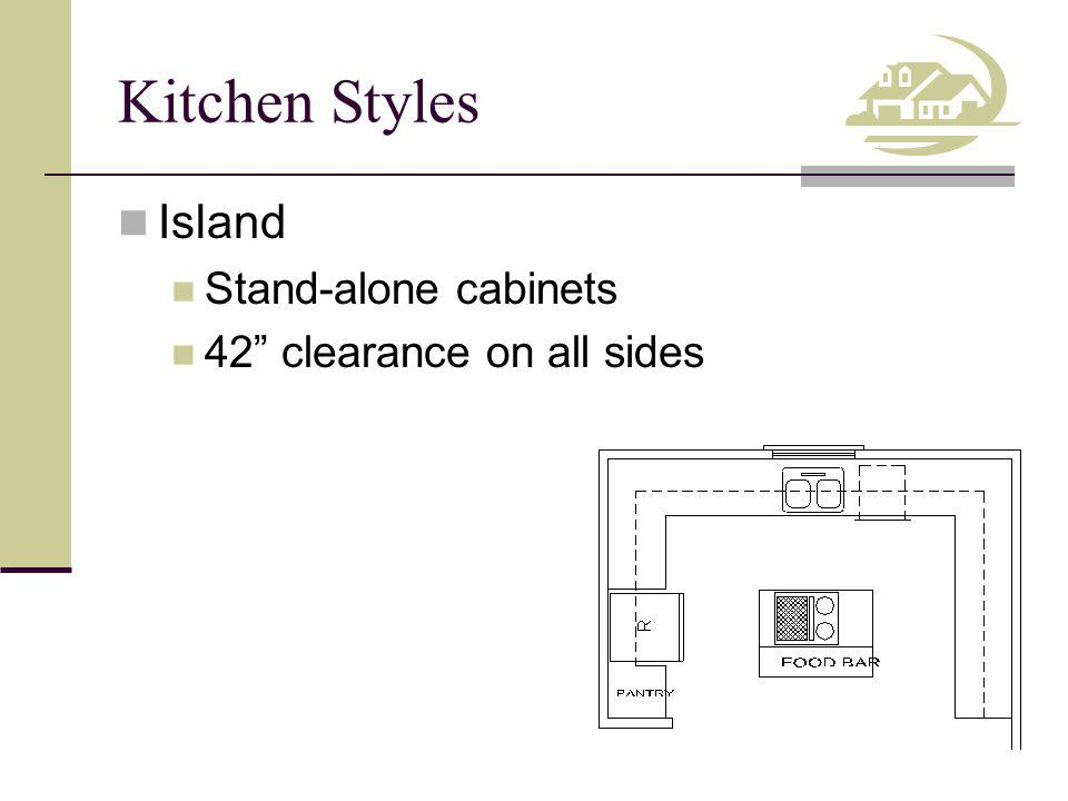 Kitchen Styles Island Stand-alone cabinets 42 clearance on all sides