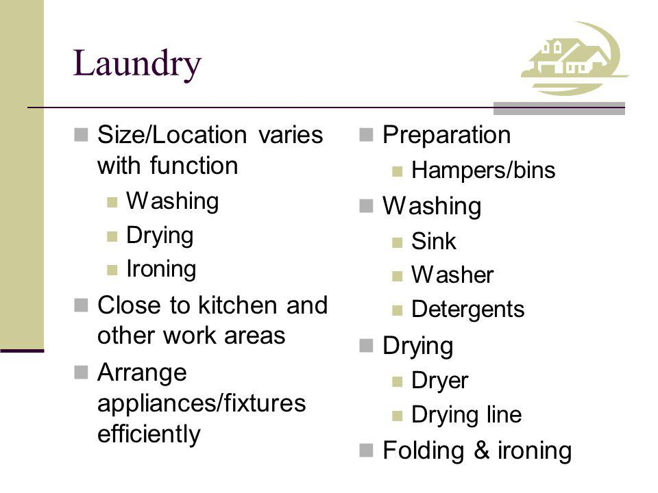 Laundry Size/Location varies with function