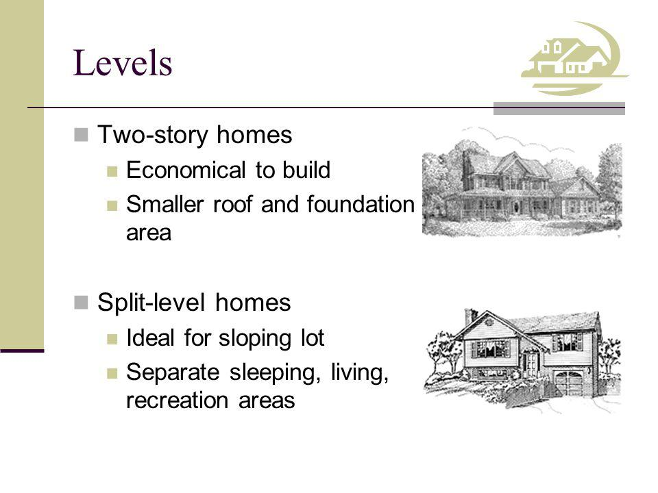 Levels Two-story homes Split-level homes Economical to build
