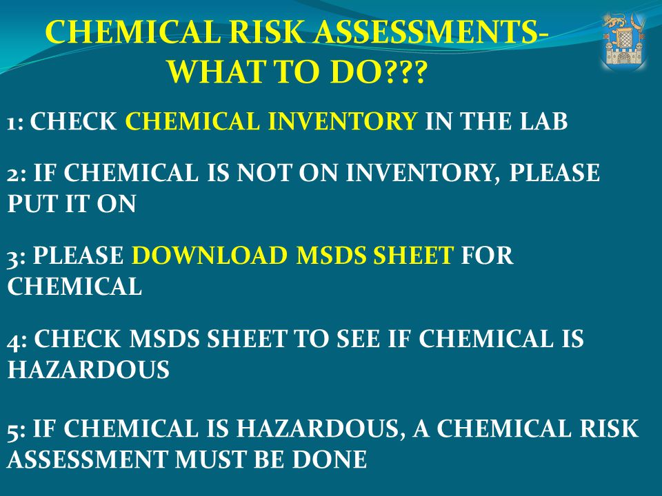 CHEMICAL RISK ASSESSMENTS-WHAT TO DO