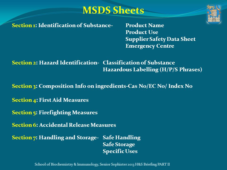 MSDS Sheets Section 1: Identification of Substance- Product Name