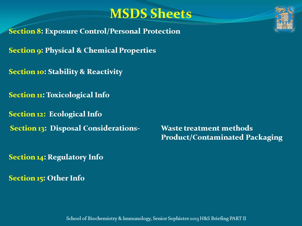 MSDS Sheets Section 8: Exposure Control/Personal Protection