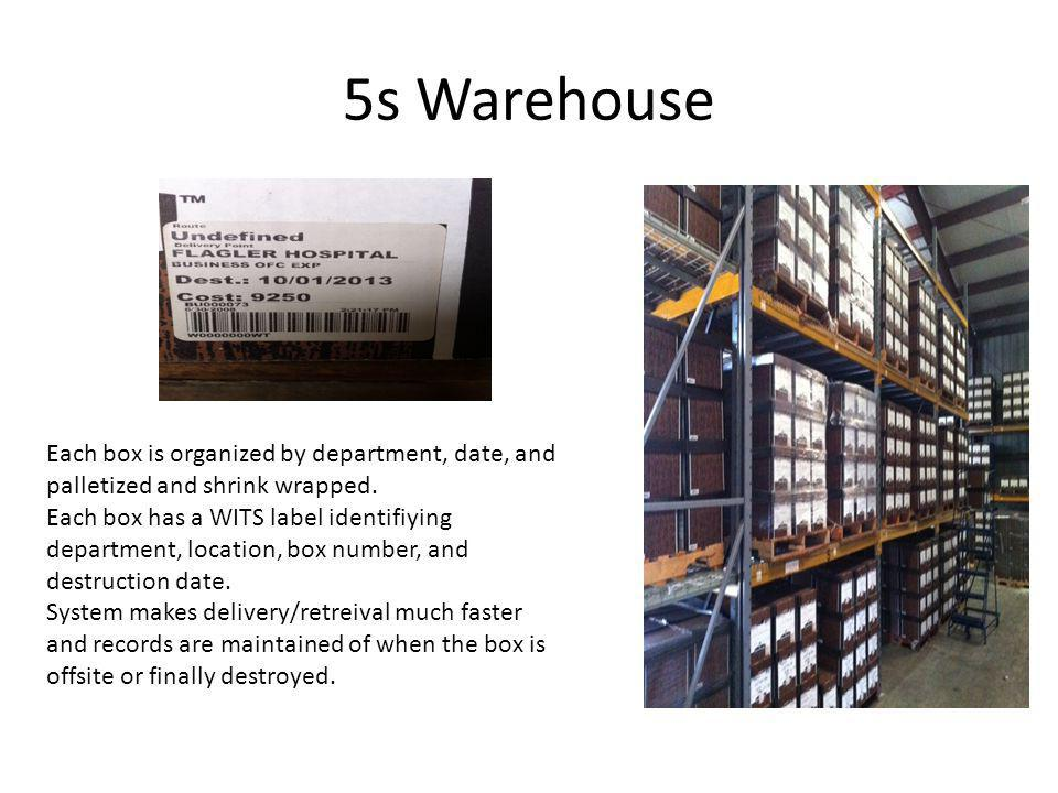 5s Warehouse Each box is organized by department, date, and palletized and shrink wrapped.