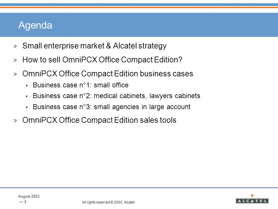 Agenda Small enterprise market & Alcatel strategy