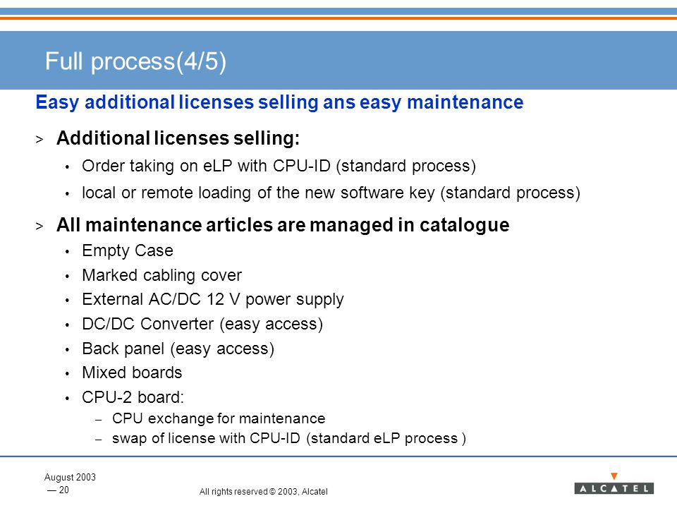 Full process(4/5) Easy additional licenses selling ans easy maintenance. Additional licenses selling: