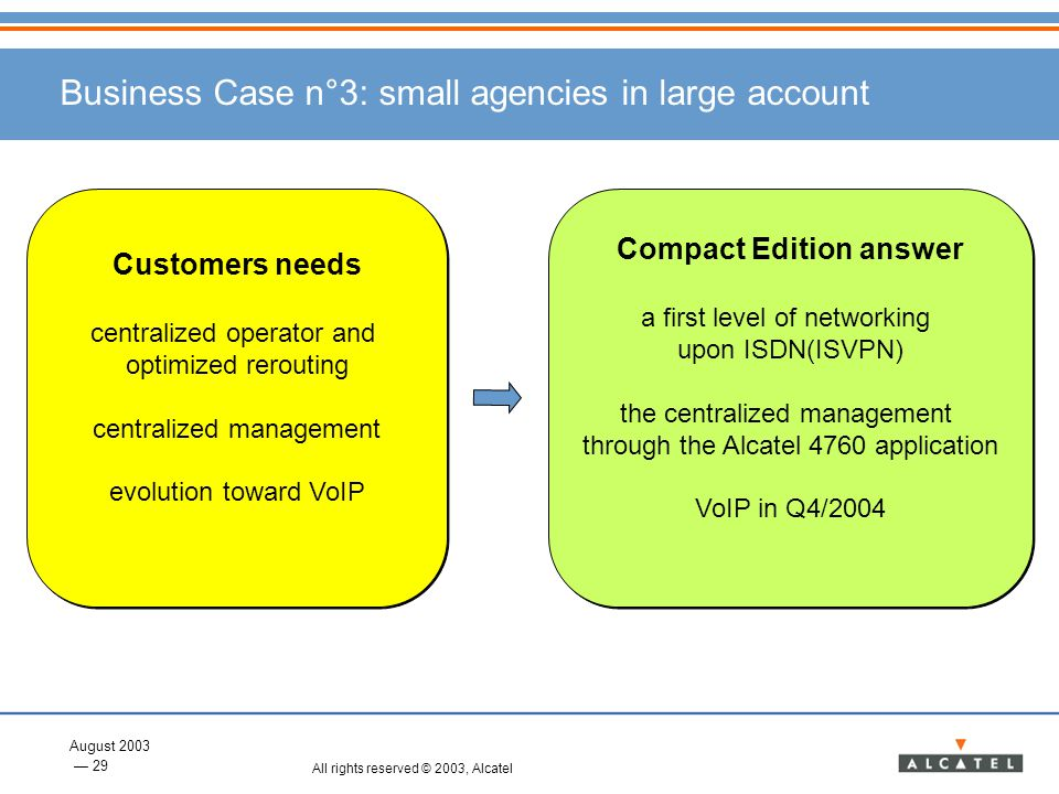 Business Case n°3: small agencies in large account
