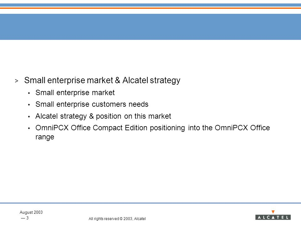 Small enterprise market & Alcatel strategy