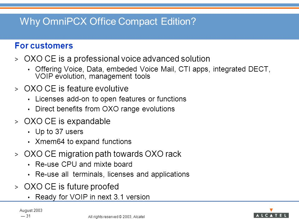 Why OmniPCX Office Compact Edition