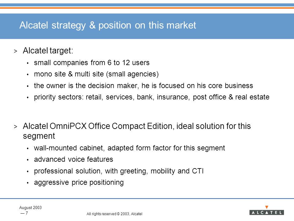 Alcatel strategy & position on this market