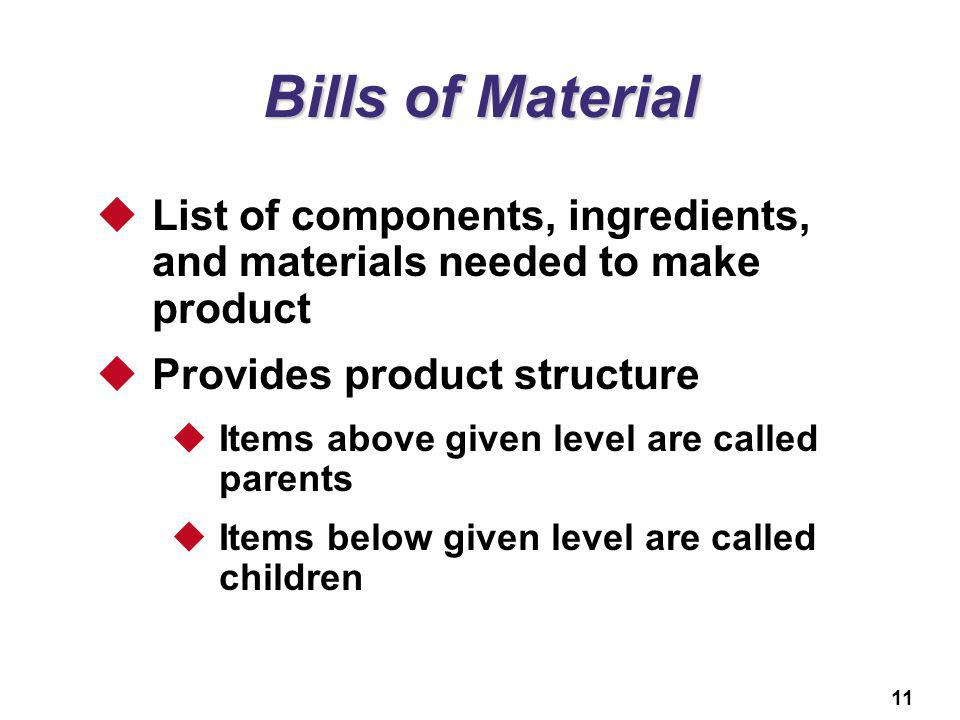 Bills of Material List of components, ingredients, and materials needed to make product. Provides product structure.