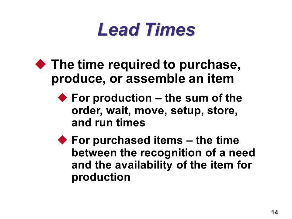 Lead Times The time required to purchase, produce, or assemble an item