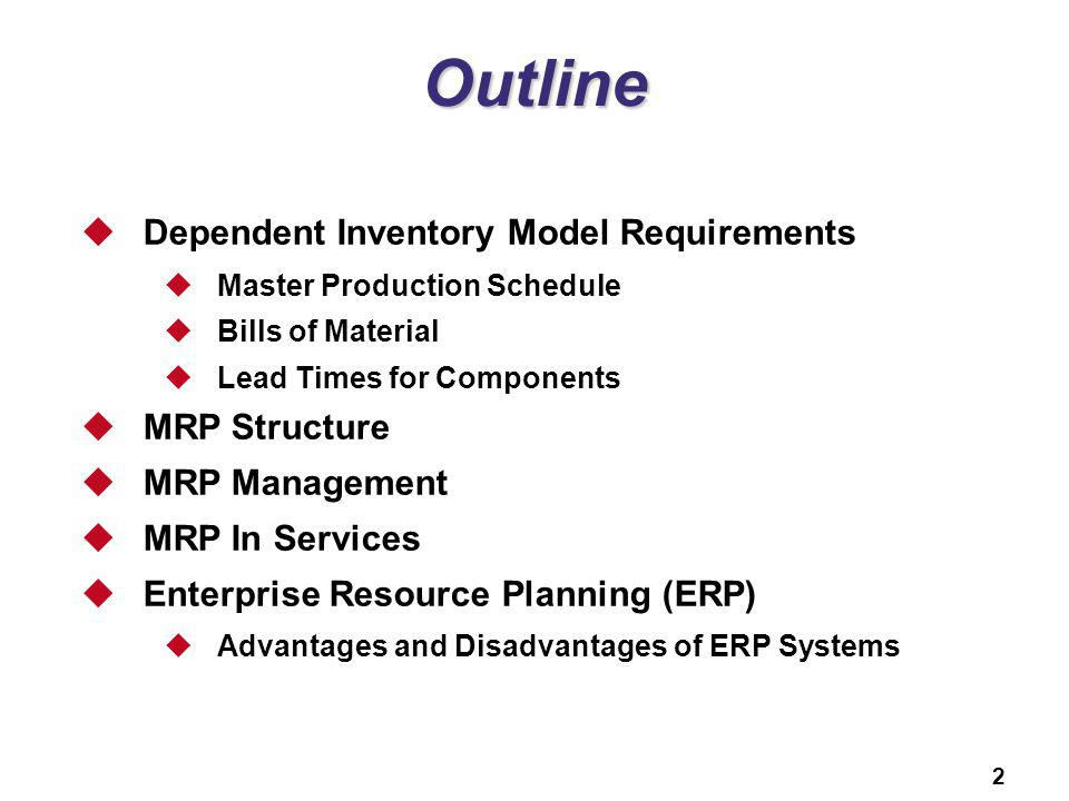 Outline Dependent Inventory Model Requirements MRP Structure