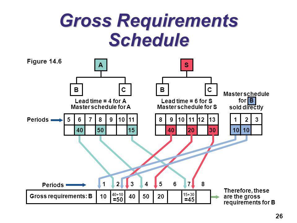 Gross Requirements Schedule