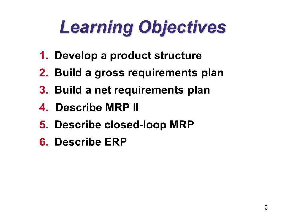 Learning Objectives Develop a product structure