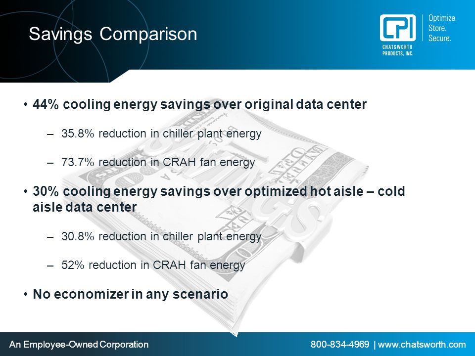 Savings Comparison 44% cooling energy savings over original data center. 35.8% reduction in chiller plant energy.